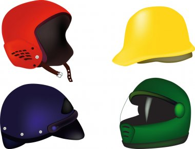 Helmets for a motorcycle hokey buildings stock vector