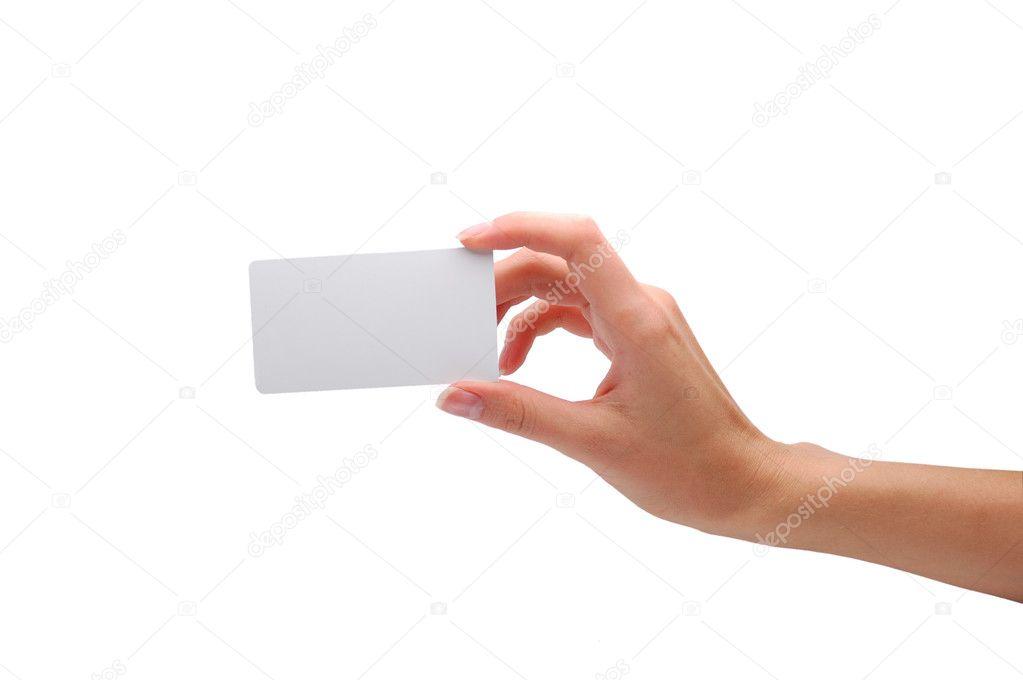 m u00e3o segurando o cart u00e3o de visita em branco  u2014 fotografias