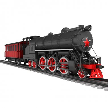 Steam locomotive with red car