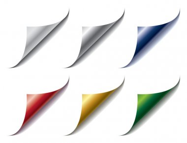 Set of bent different colors page corners clip art vector