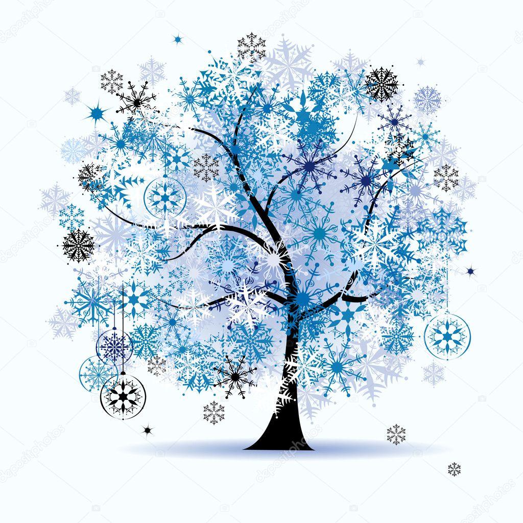 Winter tree, snowflakes. Christmas holid