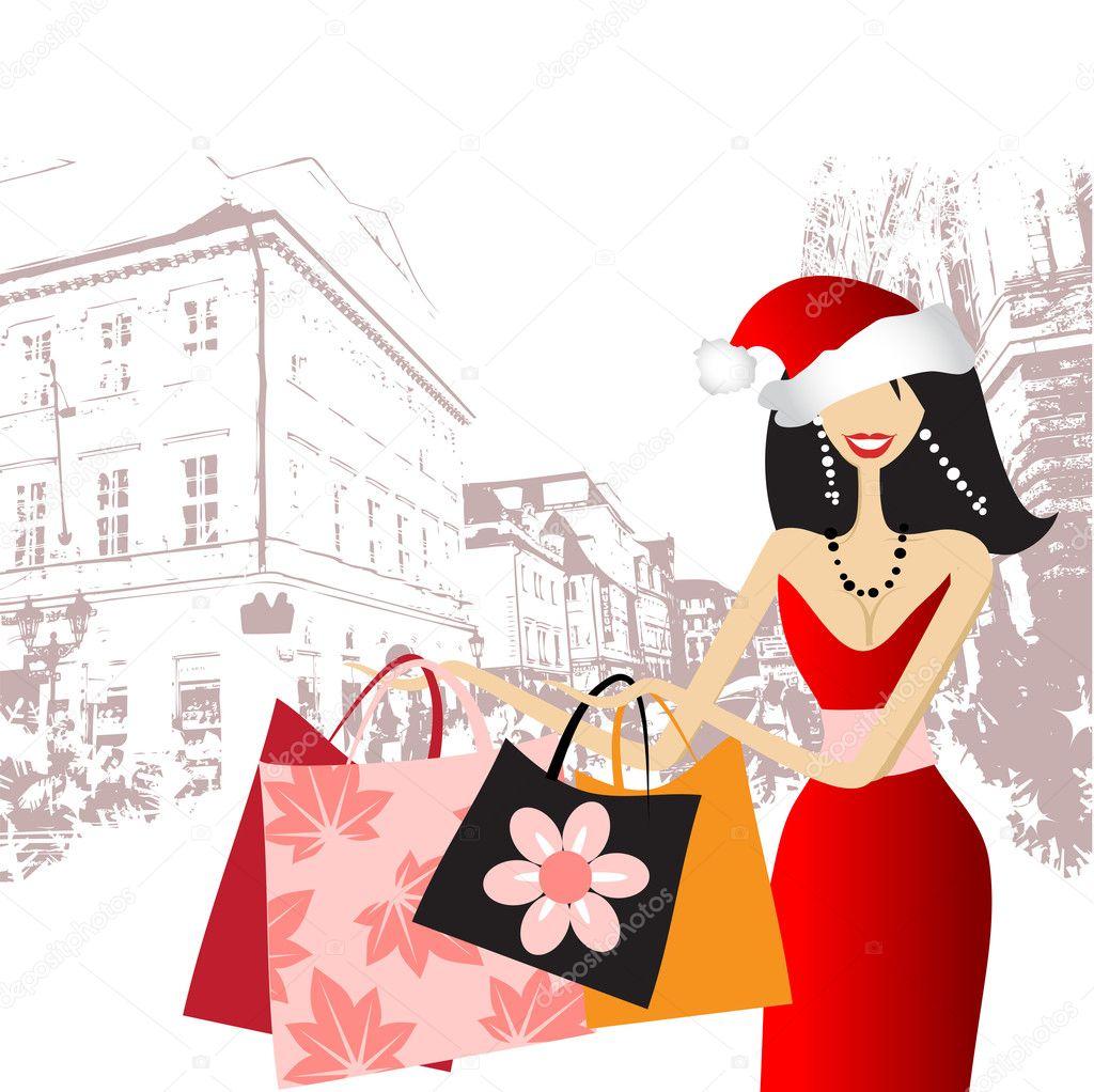 Christmas Shopping Fashion Woman For Yo Stock Vector