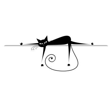 Relax. Black cat silhouette