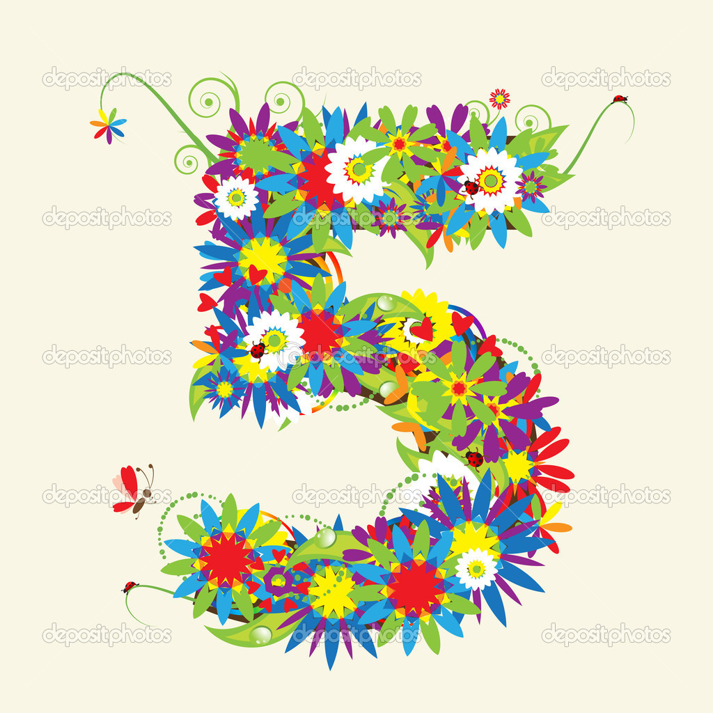 Numbers, floral design.