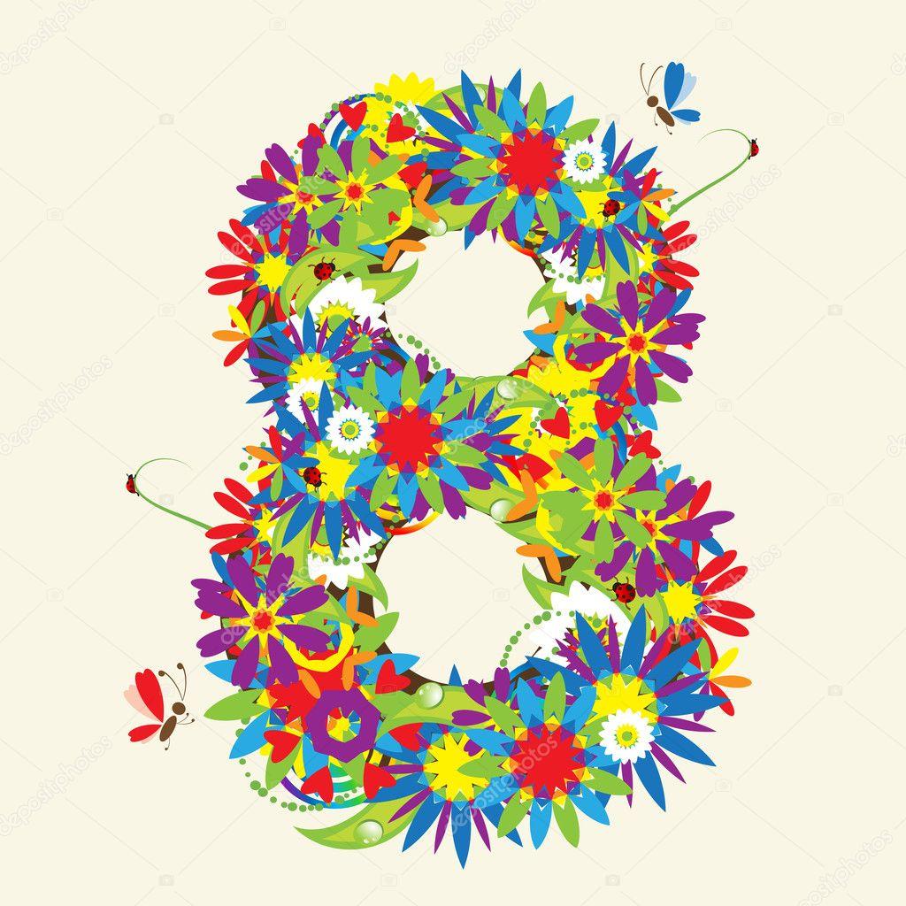 Numbers, floral design.