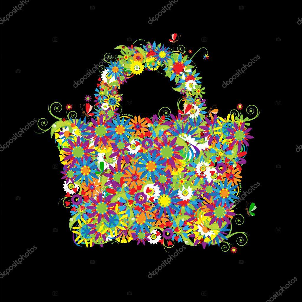 Floral shopping bag, summer.