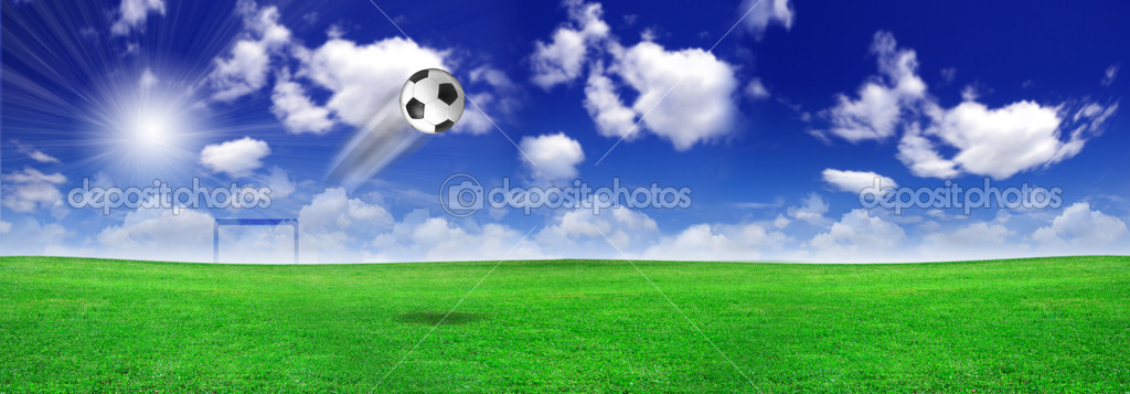 Soccer ball on the meadow
