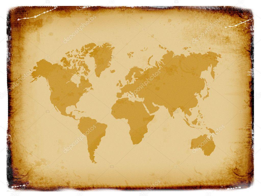 Ancient world map, grunge background