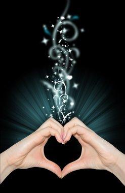 Love magic, hands of heart shape stock vector