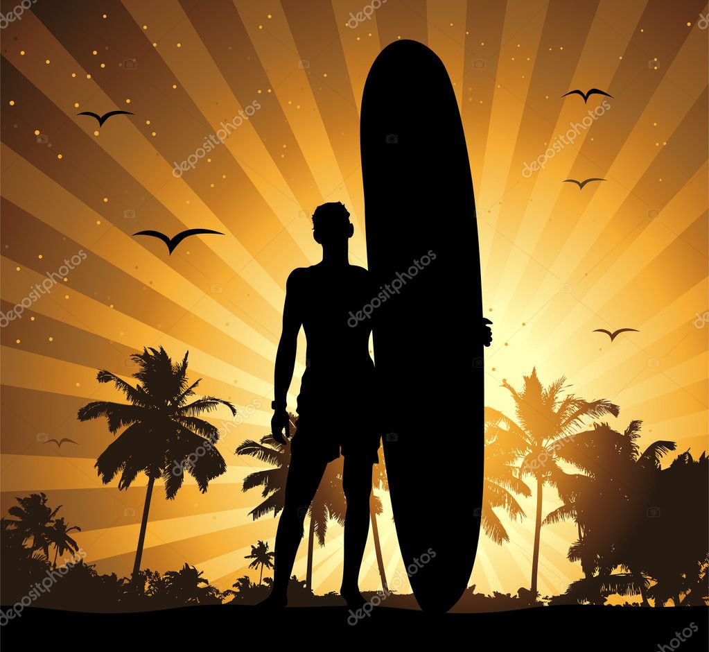 Summer holiday, man with surfboard