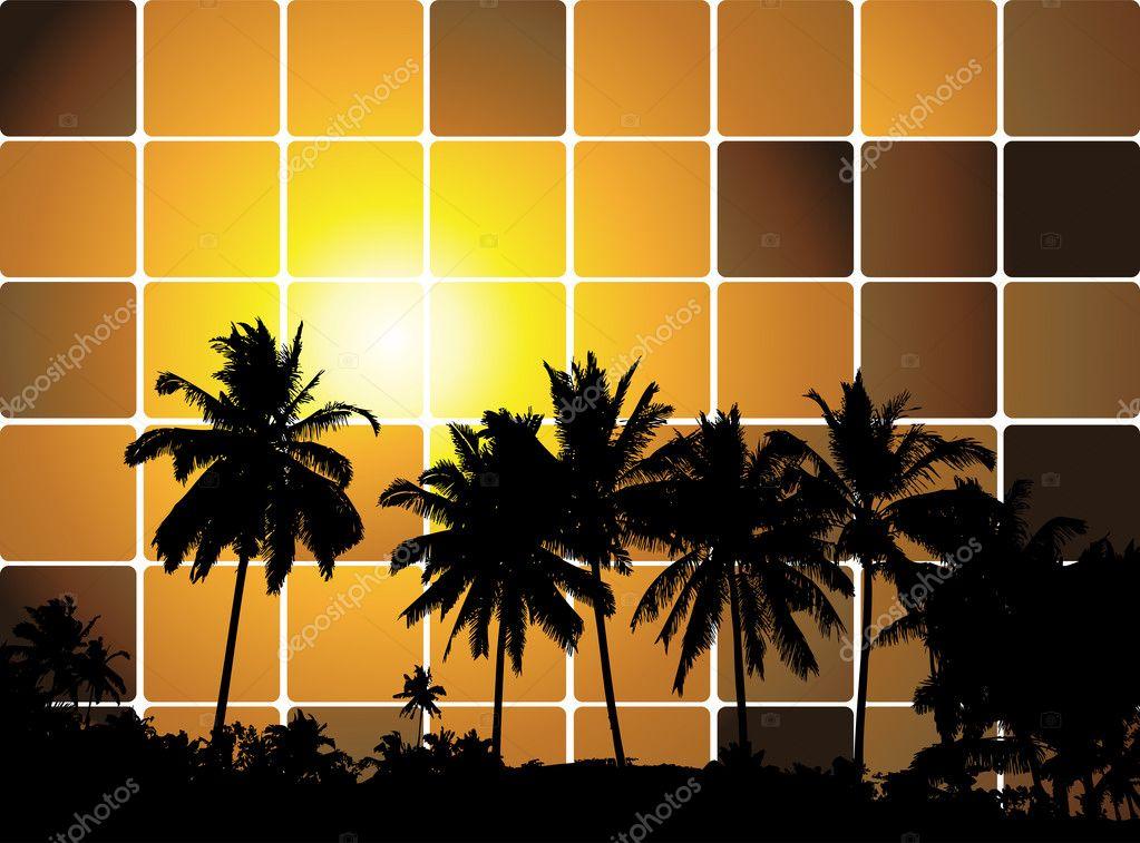 Tropical sunset, mosaic background