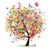 Příjemné svátky, legrační strom s baňkách