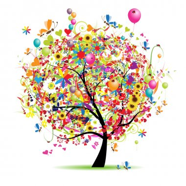 Happy holiday, funny tree with ballons