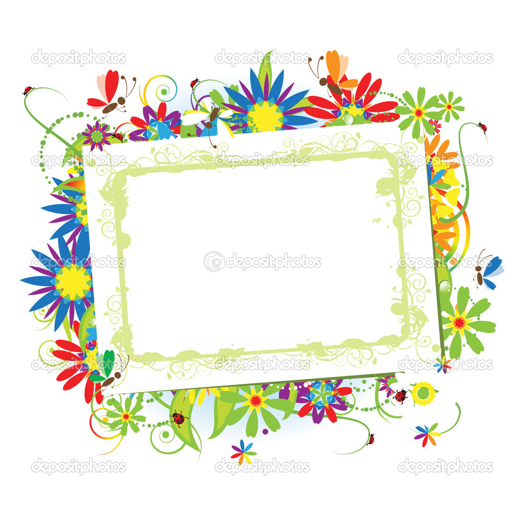 Floral frame beautiful with place for yo