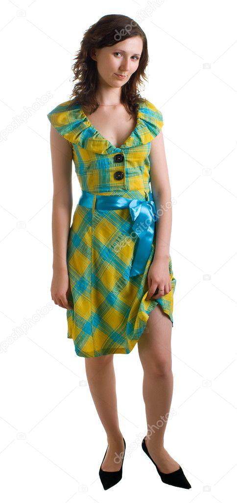 Mädchen In Kleidung Der Farben Blau Und Gelb Stockfoto Vikiri