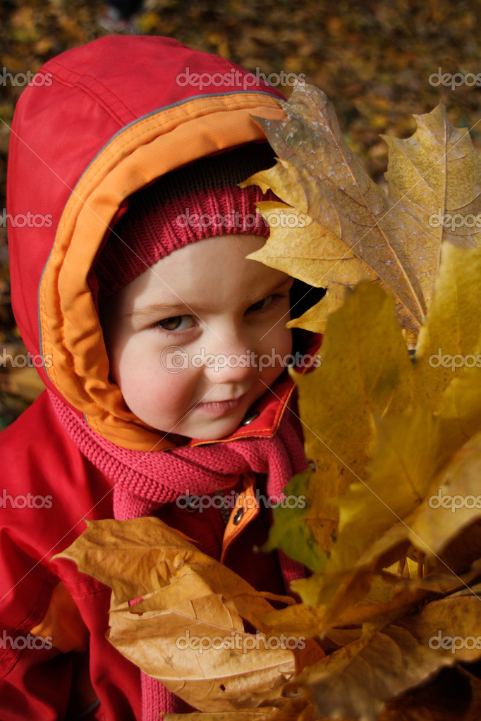 Happy girl with autumn leaves