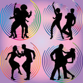 Silhouettes of dancing couples.