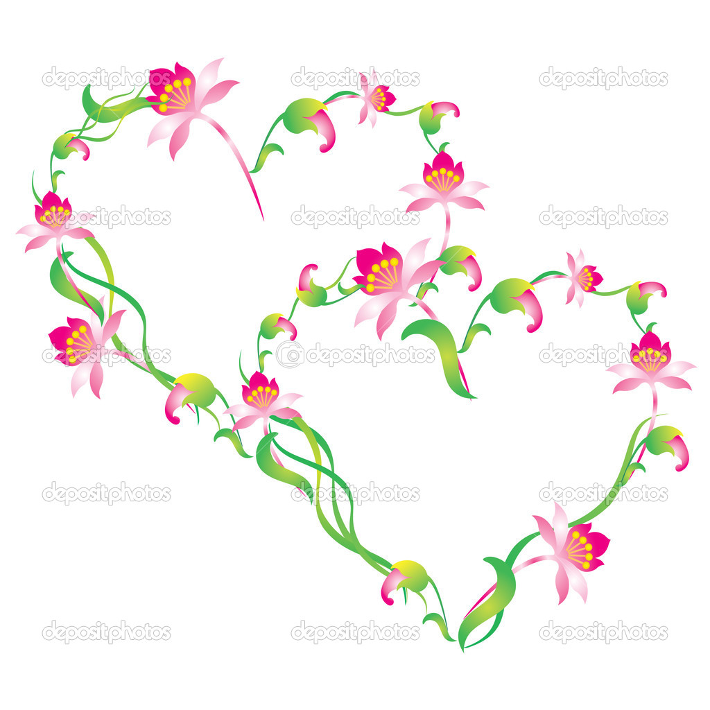 Vektor-Herz, umrahmt von Blumen — Stockvektor © vikhr15 #1645154