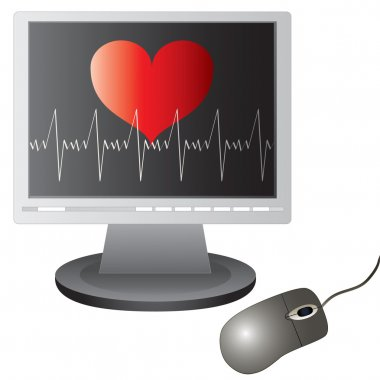 Vector heart beats graph on the screen and computer mouse. stock vector