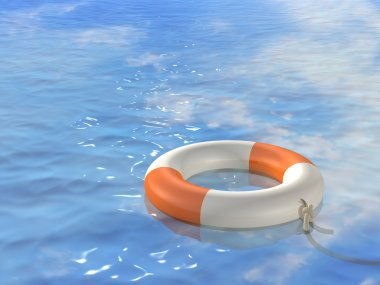 3d bright lifebuoy ring, floating on wav