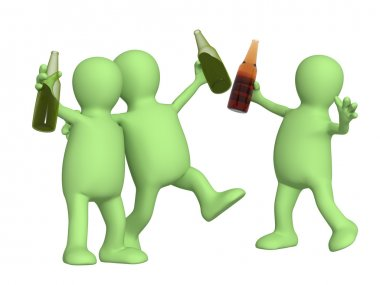 Cheerful friends with bottles of beer