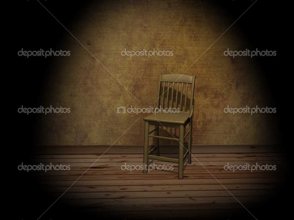 Chair in empty room, illuminated by a projector