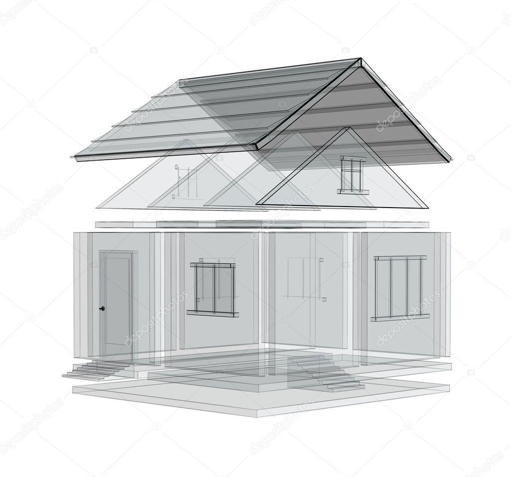 Schizzo 3d di una casa foto stock frenta 1057672 for Schizzo di piani di casa gratuiti