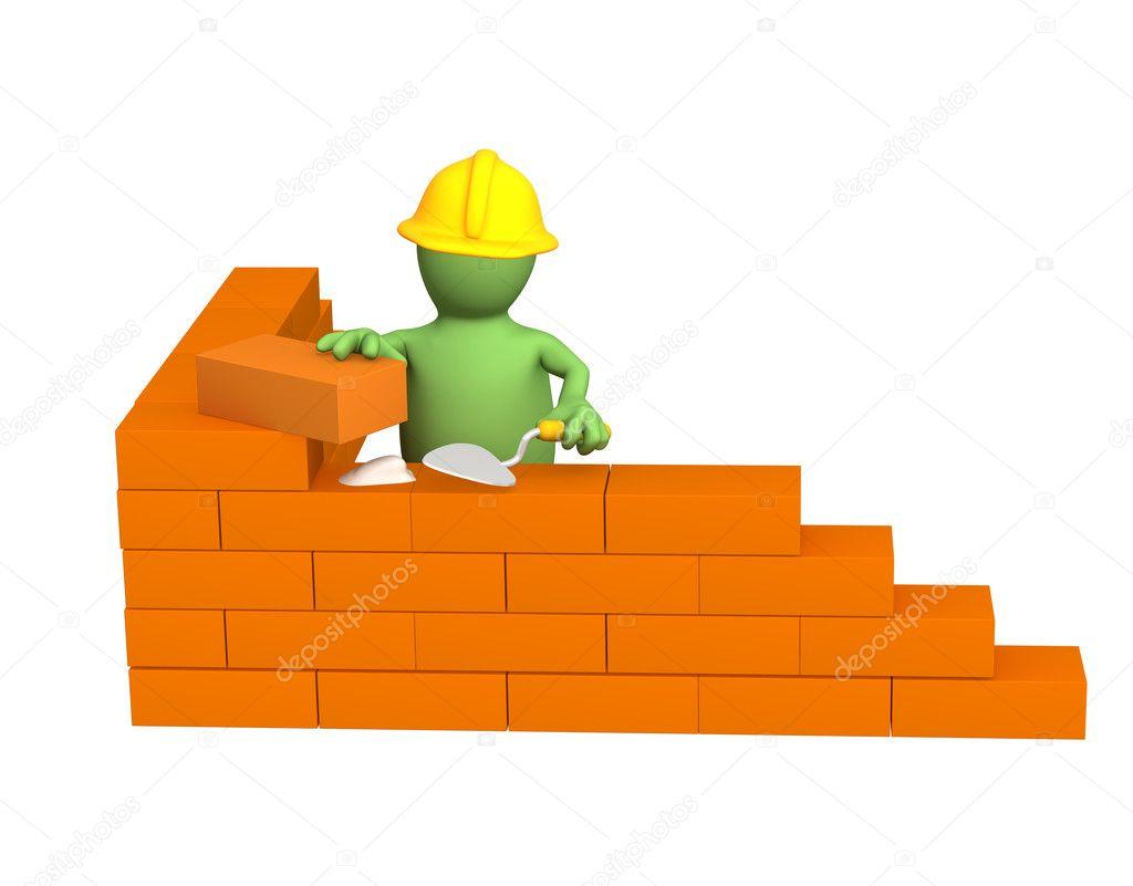 3d puppet - builder, building a brick wa