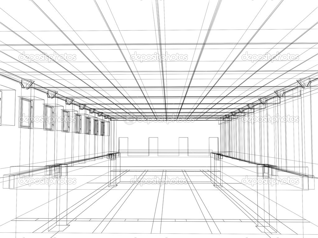 3d sketch of an interior of a public bui