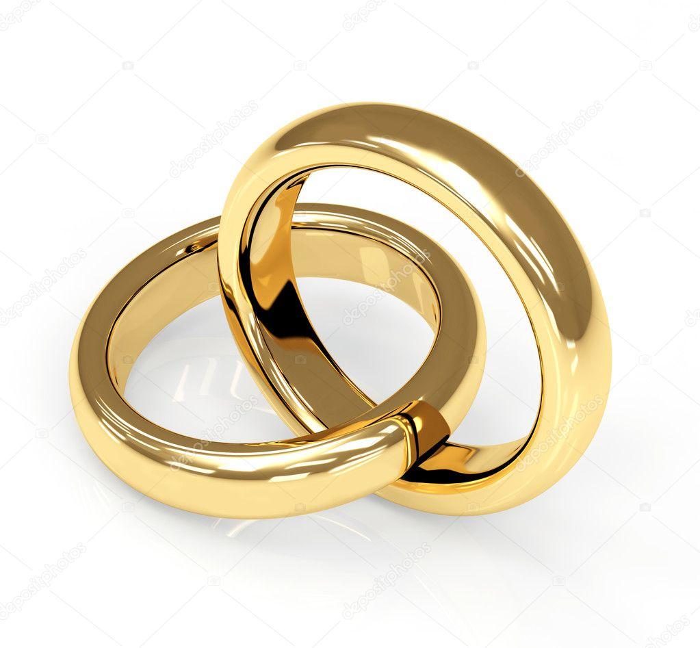 Two 3d gold wedding ring Stock Photo frenta 1071279