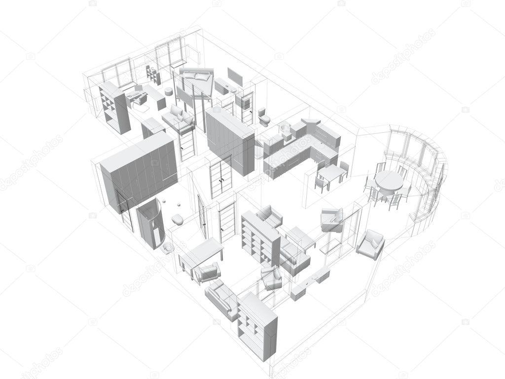 3d skiss av en fyra rums lägenhet stockfoto
