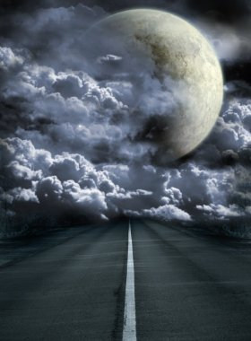 Dark series - road to surreal moon stock vector