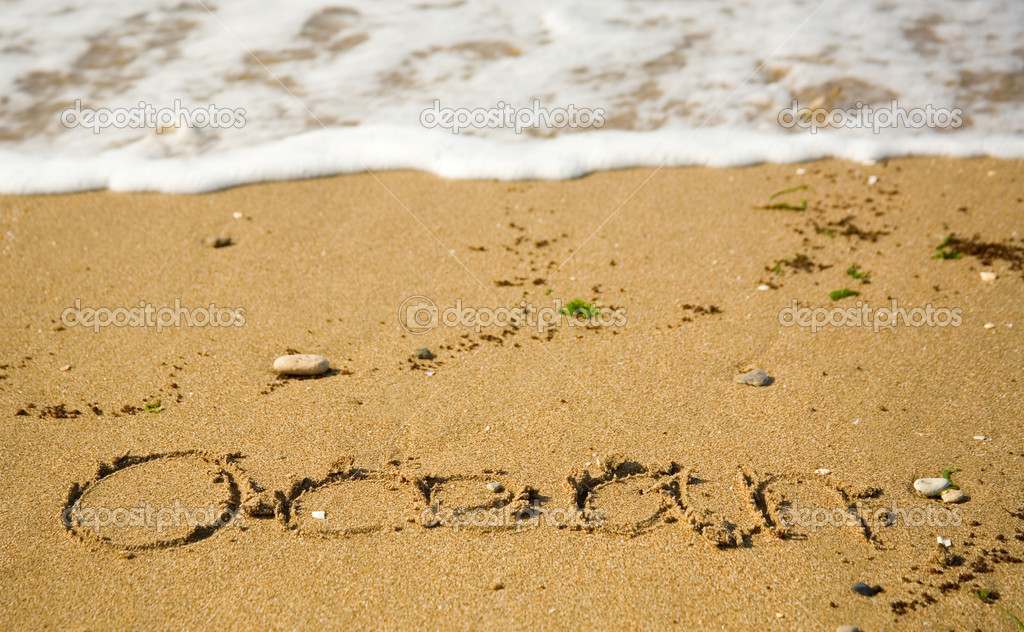 Word Ocean written on the sand