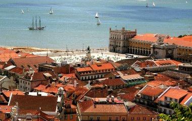 Bird view of central Lisbon