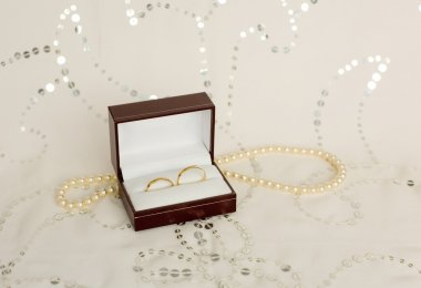 Two golden wedding rings in a box