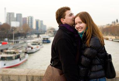 Happy loving couple in Paris