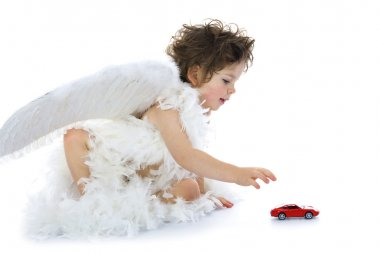 Little angel with car and house