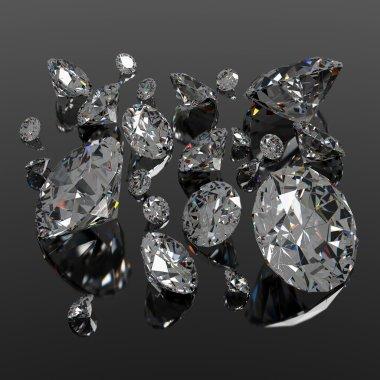 Diamonds jewel on black surface