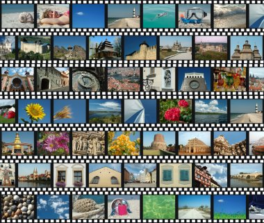 Background with travel filmstrips stock vector