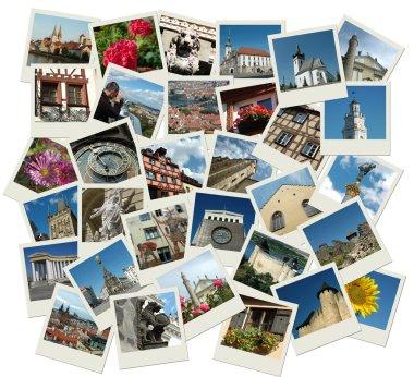 """Картина, постер, плакат, фотообои """"пачка снимков с европейскими достопримечательностями печать портрет"""", артикул 1095211"""