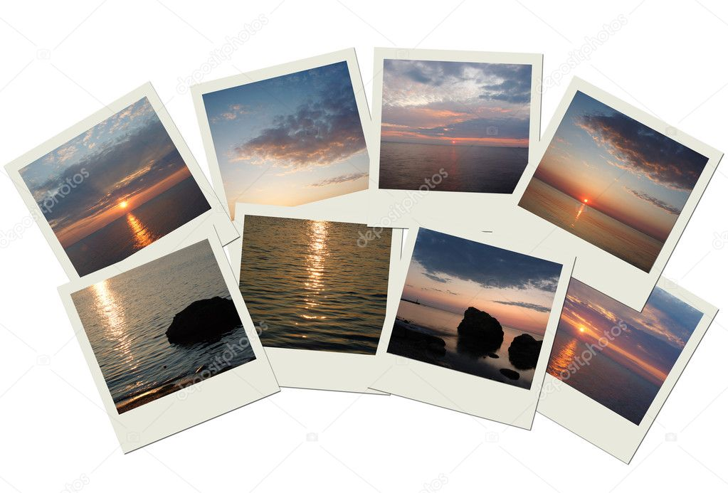 Stack of travel photos with sunrises
