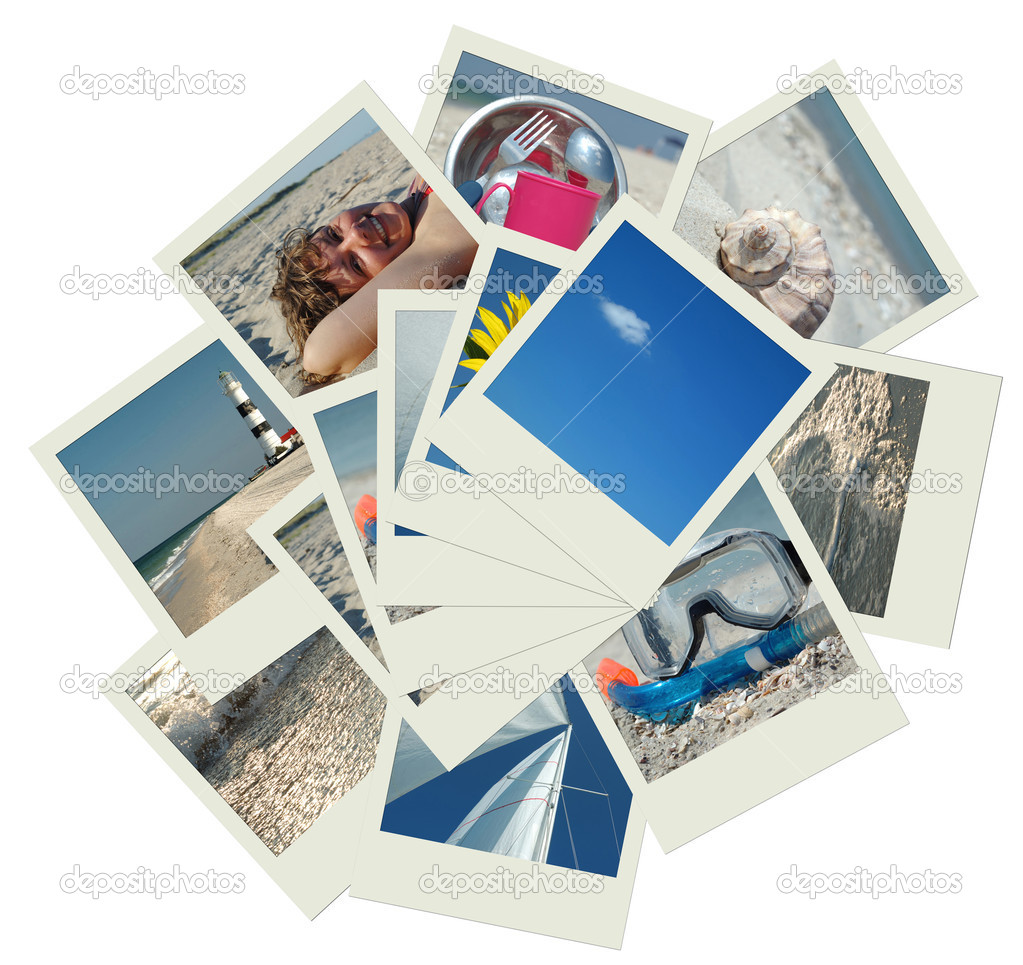 Stack of vacation travel photos
