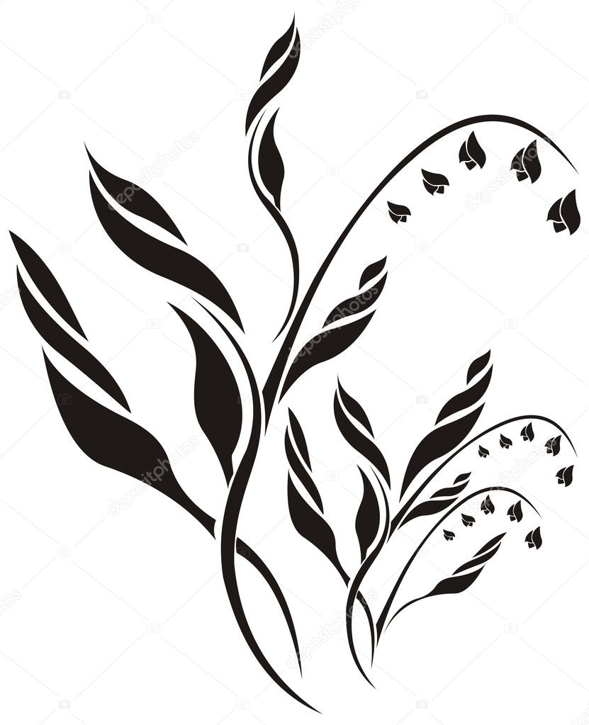 Lily of the valley floral vector pattern