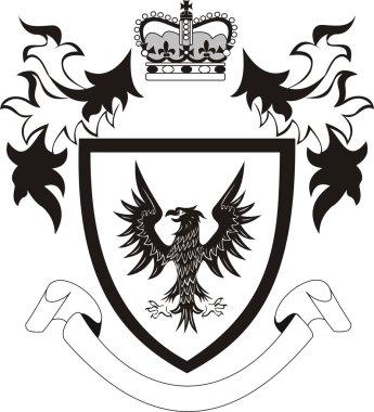 Grunge retro shield with black eagle