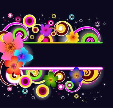 Modern floral frame, vector illustration clip art vector