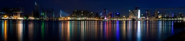 Night panorama of Rotterdam and Mass Riv
