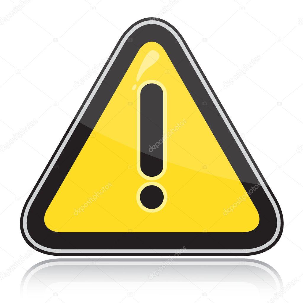 Yellow triangular other warning sign