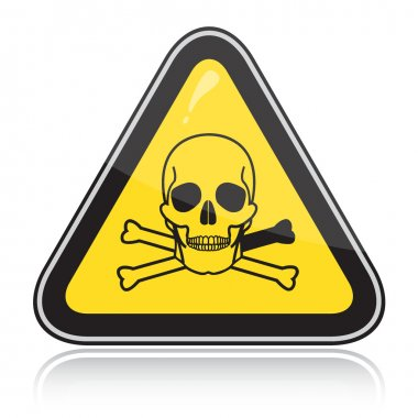Yellow triangular warning sign