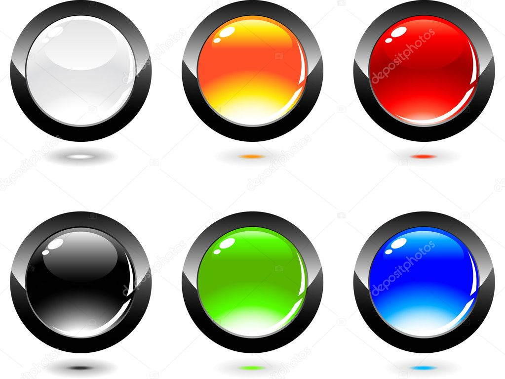 Set of glossy button