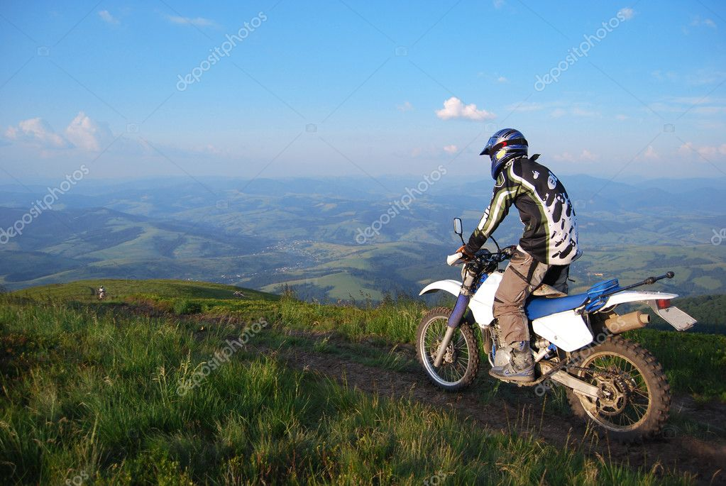 Enduro motocycle riding in highlands